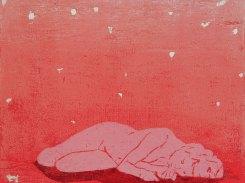 Sataa tähtiä, puupiirros, 2000, 15x18 cm