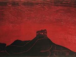Koti vuoren päällä, puupiirros, 1999, 61x125 cm
