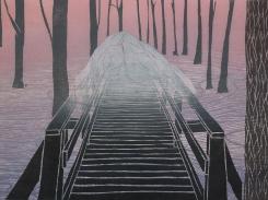 Talvipäivä, puupiirros 2002, 53x66 cm