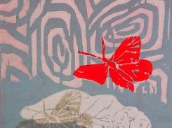 Vaaleanpunaisia unelmia, puupiirros, 2001, 15x18 cm