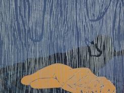 Sataa vettä, puupiirros, 2000, 15x18 cm