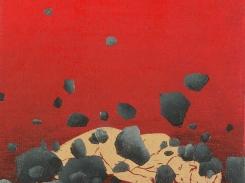 Sataa kiviä, puupiirros, 2000, 15x18 cm