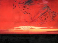 Yö aamua syleilee, puupiirros, 2008, 242x242 cm