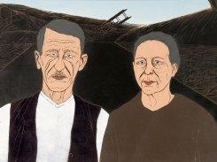 Arvid ja Kustaava I, puupiirros, 2005, 70x130 cm