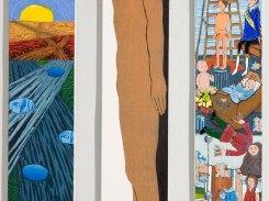 Murrosikä, puupiirros, 2004, 3 osaa á 120x25 cm