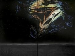 Aamu yötä syleilee, puupiirros, 2007, 242x242 cm