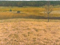 Maisema, puupiirros, 2005, 121x121 cm