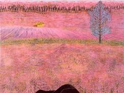 Muisto maisemasta, puupiirros, 2005, 121x121 cm