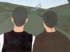 Arvid ja Kustaava II, puupiirros, 2005, 70x130 cm
