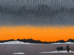 Pohjoinen ulottuvuus, puupiirros, 2016, 24x54 cm