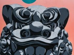Temppelin vartija Mmm, puupiirros, 2016, 70x43 cm