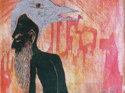 Lintumies, puupiirros, 1993, 130x40 cm