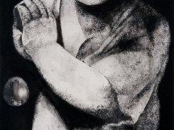 Helmi, paperilitografia levylle, 2014, 32x32 cm