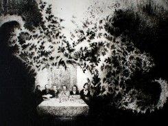 Juhla, paperilitografia levylle, 2013. 20x20 cm
