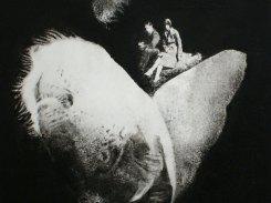 Yhteinen retki, paperilitografia levylle, 2013, 20x20 cm
