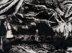 Maa, paperilitografia levylle, 2016, 21x50 cm